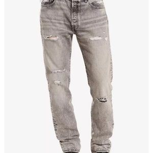 Levis 501 Mens Straight Leg Button Fly Jeans Gray